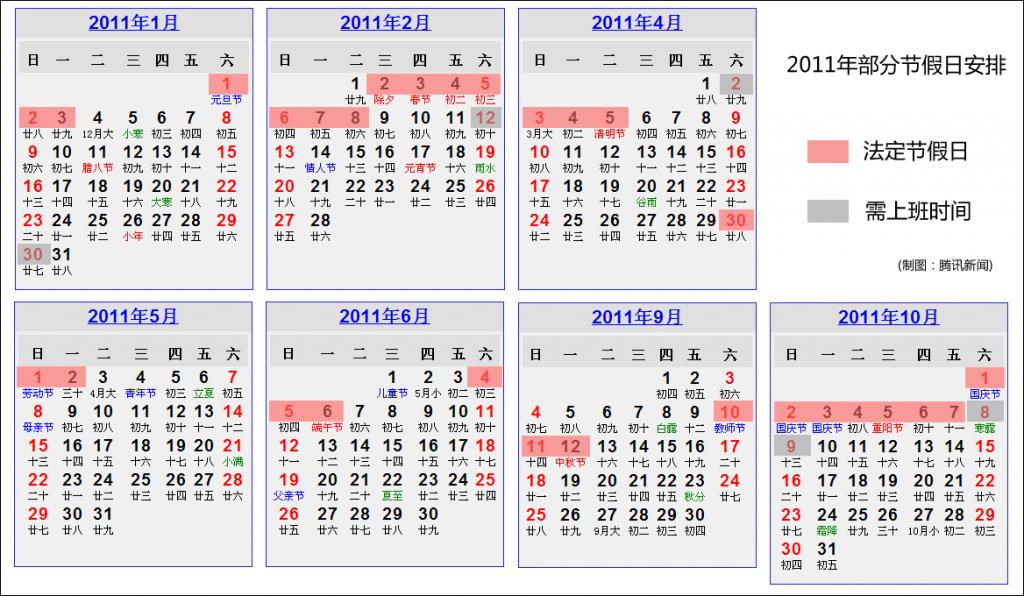 2011年中国公民法定假日安排